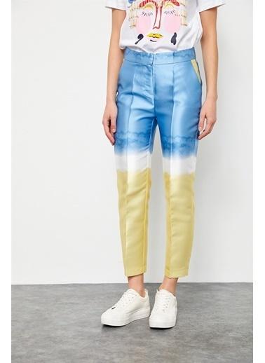 Setre Pembe-Bej Normal Bel Cepli Batik Kalem Pantolon Mavi